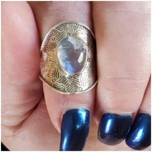 Genuine 5ct Rainbow Moonstone Ring Size Adjustible